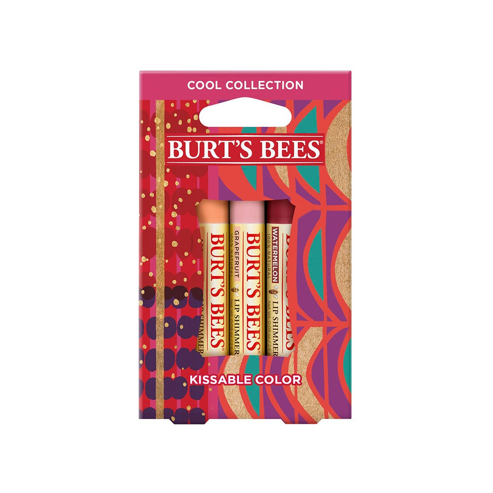 Burt's Bees Kissable Color Holiday Gift Set, 3 Lip Shimmers in Gift Box, Cool Collection